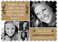 Graduation Announcements: Hope And Future,  Announcement, Scallop Corners, Brown