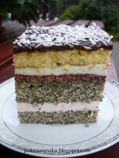 Jaskinia Smaku: Ciasto z makiem i pianką Polish Desserts, Polish Recipes, 7 Layer Cakes, Sweet Recipes, Cake Recipes, Hungarian Cake, Poppy Seed Cake, Kolaci I Torte, Food Categories