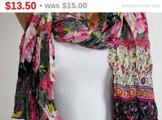 $13.5  Pink, Gray, Cream, Black,  Floral , Scarf, Women Accessories, Oversize, 4 Seasons, Silky, Shawl, Wrap, Foulard, Scarves, Gift For Her Women by echerpe   #Accessories   #dress   #scarfs   #shopetsy   #etsy   #fashion   #cutestuff   #scarves   #giftidea