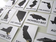 #Wedding Table Numbers = destinations the couple has been. (with a heart over the town!)