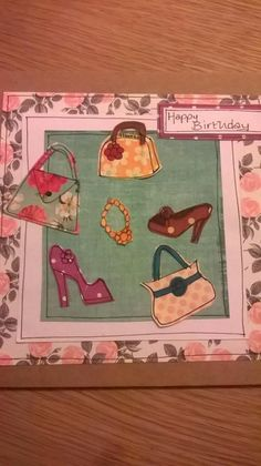 """beautiful handmade paper collage, unique shoes and handbags card 6 x 6"""" , frameable after use by rhondastrees on Etsy"""