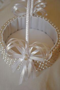 Cesta de perolas florista branco