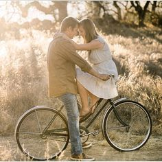 Grandma's vintage bicycle and a golden afternoon glow make this rustic engagement session by White Haute Photography so perfectly cute!