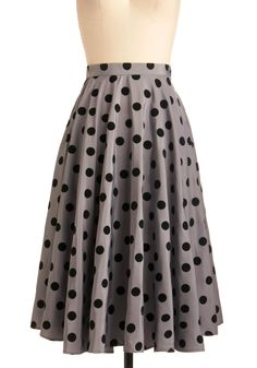 Give Us a Spin Skirt by Bettie Page - Long, Party, Vintage Inspired, 50s, Grey, Black, Polka Dots, A-line, Pockets, Rockabilly