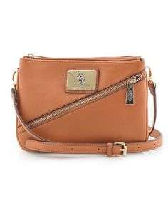 a2c9934915ff WOMEN S SAFFIANO DIAGONAL ZIP CROSS BODY BAG COGNAC BAG  USPoloAssn   MessengerCrossBody