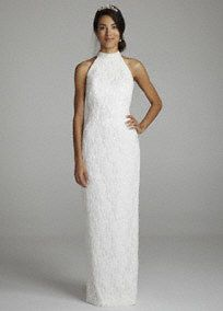 You willlook flawless on your special day in this elegant wedding dress!  Halterbodice with a slim silhouette adds feminine appealand is ultra-chic.  All over lacefabric adds texture and dimension.  Detachable chiffon sweep train at neck.  Fully lined. Back zip. Imported. Dry clean only.  To preserve your wedding dreams, try our Wedding Gown Preservation Kit.