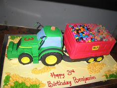 tractor cake. I would fill the trailer with mini digestives for Neil's dads birthday, his two favourite things!