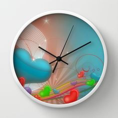 Rainbow Hearts of Love Wall Clock by Designs by Hafapea - $30.00