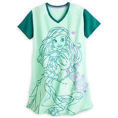 Amazon.com: Disney Store Ariel Ladies Nightshirt Nightgown Mermaid Green XS S M L XL XXL: Clothing