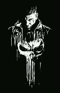 The punisher amazing b&w illustration by karen luquez - image - licence: free Deadpool Wallpaper, Marvel Wallpaper, Dark Wallpaper, Punisher Comics, Daredevil Punisher, Punisher Tattoo, Punisher Skull, Punisher Logo, Marvel Art