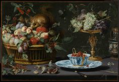Frans Snijders, Still Life with Fruit, Porcelain and a Squirrel, detail, oil on copper, 1616, Museum of Fine Arts Boston.  These strawberries in a Chinese porcelain bowl are painted on copper, which makes it look so bright it almost seems like the bowl is real porcelain, reflecting the light of the room.