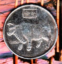 Large,old,rare,ancient,Chinese Commemorative Year of the Cattle coin