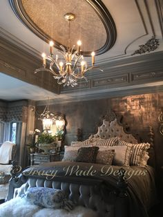 Modern Masters metallic plaster, pewter foil and MM Black Pearl glaze on walls. MM glassbead gel with pure silver glass glitter added in on dome and MM assorted metallic paints on the JP Weaver molding ornamentations, all done by Tracy Wade Design, LLC.