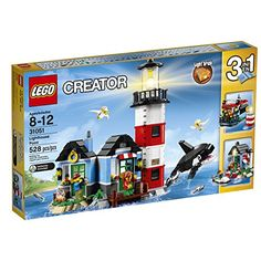LEGO Creator - Lighthouse Point and over other quality toys at Fat Brain Toys. Spend a weekend at the cozy lighthouse, with light brick, 2 minifigures, buildable orca and seagulls. Rebuilds into a house with pier and speedboat or a boathouse. Lego Creator Sets, The Creator, Lego Disney, Building For Kids, Building Toys, Lego Sets, Lego Minecraft, Le Hangar, Light Brick