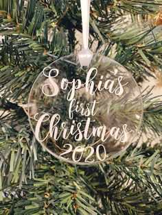 Clear Ornaments, Christmas Ornaments, Babies First Christmas, Personalized Baby, Clear Acrylic, Cute Babies, Canada, Etsy Shop, Free Shipping