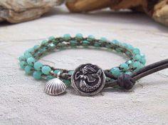 Crochet Wrap Bracelet, Beaded, Mermaid Button, Shell Charm, Leather Loop, Bohemian Jewelry, Boho, Hippie Chic Bracelet