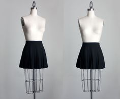 Black Pleated Skirt 1990s Vintage Black Pleated MIcro by decades, $42.00