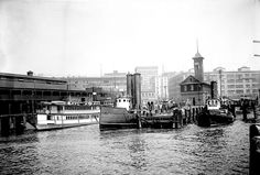 Waterfront fire station with fireboats Snoqualmie and Duwamish, 1910 by Seattle Municipal Archives, via Flickr