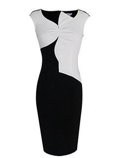 VfEmage Women's Celebrity Optical Illusion Slimming Wear to Work Bodycon Dress