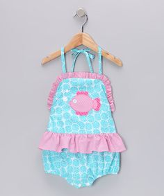 Take a look at this Turquoise Fish Skirted One-Piece - Infant by Petite Palace on #zulily today!