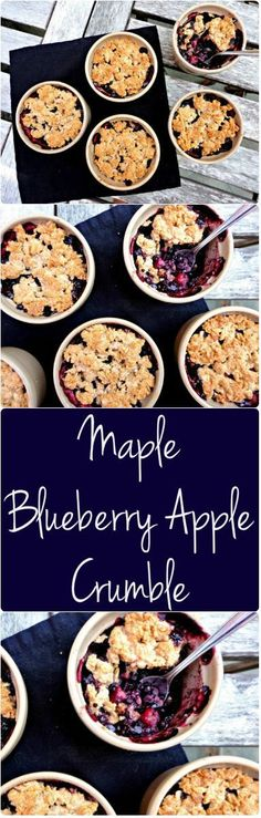 """This Flourless Maple Apple Blueberry Crumble is #vegan and #gluten free - An easy, #healthy and delicious recipe! -…"""