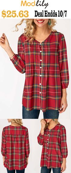 c0baf0acfdb73e V Neck Plaid Print Button Up Blouse On Sale At Modlily. Best sale. Free