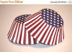 SALE 24 Red White and Blue Flag Cupcake Liners, 4th July Cupcake Papers, Patriotic Baking Cups, Birthday Party by LuxePartySupply on Etsy https://www.etsy.com/listing/151914695/sale-24-red-white-and-blue-flag-cupcake