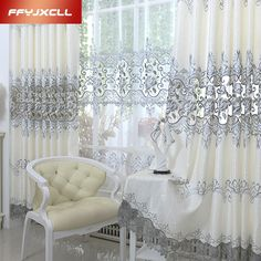 Luxury Europe Embroidered Tulle Window Curtains For Living Room Bedroom Blackout Treatment Drapes Home
