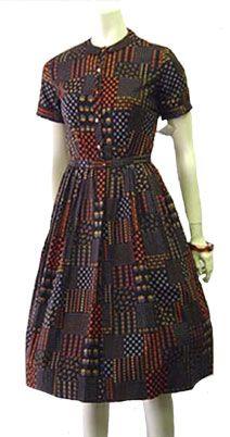 Rockabilly 50s vintage, black cotton day dress by NeldasVintageClothing.com