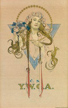 ALPHONSE MUCHA (1860-1939) C.S. / Y.W.C.A. 1922.