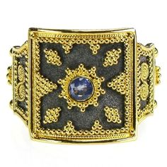Damaskos Sapphire Black Gold Thiva Shield Ring. 18k Gold and Sapphire. Greek jewelry at www.athenas-treasures.com