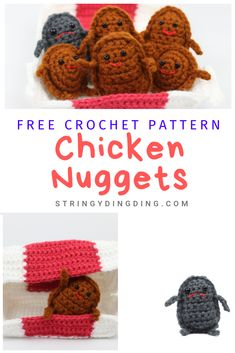 Yes - you can make crochet chicken nuggets! Visit my site now for the free crochet pattern. US and UK versions of the pattern are available. Crochet Cupcake, Crochet Food, Crochet Crafts, Crochet Projects, Sewing Crafts, Crochet Birds, Crochet Bear, Crochet Patterns Amigurumi, Free Crochet