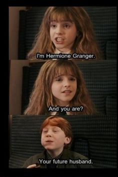 Harry Potter funny meme about ron weasley and hermione granger, kings cross, 9 3/4, train, cabin, green. harry potter and the philosophers stone, books, books, fandom, potterhead