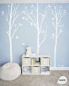 """White Tree Wall Decals - White Birch Trees Decal Nursery wall decor Tree Wall Mural stickers - Large: approx 92"""" x 81"""" - KC003"""