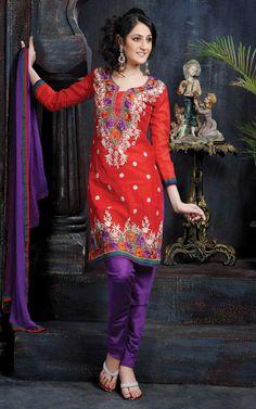 Red & Purple Chanderi Salwar Kameez