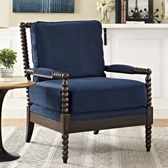 Seating For Small Living Room Key: 8266416611 Living Room Goals, Home Living Room, Navy Accent Chair, Blue Velvet Couch, Fabric Armchairs, Chair And Ottoman, Wingback Chair, Chairs Online, Accent Chairs For Living Room