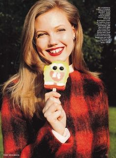 its funny how identical her teeth are to the Popsicle shes eating