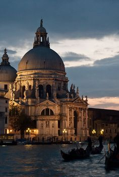 The Salute church at dusk, with gondola, Venice >>> I can never get enough photos of Venice!!!