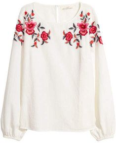 Slightly wider-cut blouse in textured-weave cotton fabric. Embroidered motif at top opening at back of neck with button and long slightly wider sleeves with elasticized cuffs. White Cotton Blouse, Cotton Blouses, Blouse Batik, Zara, Spring Tops, Embroidered Blouse, White Women, White Tops, Blouses For Women