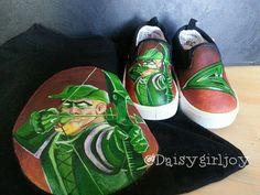 Custom hand painted Green Arrow DC Comics Toddler by DaisyGirlJoy, $50.00