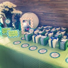 "Tee-time tee box party favors for a golf theme baby shower. ""Thank you for coming to our Par-tee"""