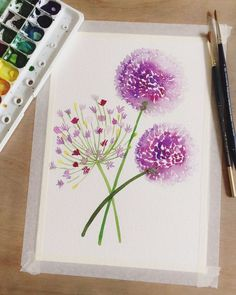 Learn how to paint a new flower every day with help from acclaimed watercolor artist, Yao Cheng Known for her flowing, elegant style, Yao shares her technique for capturing the feeling of flowers rather than trying to paint them realistically In ea - p Watercolour Tutorials, Watercolor Artists, Watercolor Pencils, Watercolor Techniques, Watercolor Cards, Watercolour Painting, Watercolor Flowers, Painting & Drawing, Watercolors