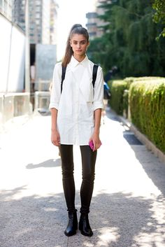 The Front Row View: Model Street Style:Taylor Marie Hill's Classic White Shirt