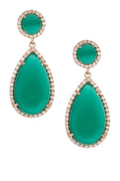 Green Agate Teardrop Drop Earrings by Adam Marc on @HauteLook