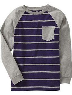 Boys Striped-Raglan Pocket Tees