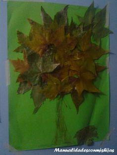 Manualidades con mis hijas. Arbol con hojas de otoño. Autumn tree. Leaves