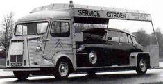 specialcar: Citroen H Van and Citroen DS Take your car with you. Citroen Ds, Citroen Type H, Psa Peugeot Citroen, Classic Trucks, Classic Cars, Automobile, Car Trailer, Truck Design, Transporter