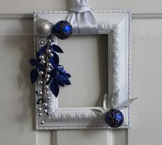 Picture Frame Christmas Wreath  White Silver by badcandystudios