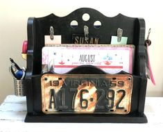 Magazine holder turned portable office by Homeroad, featured on Funky Junk Interiors Home Office Storage, Office Organization, Organized Office, Organizing Ideas, Home Office Furniture, Cool Furniture, Upcycled Furniture, Diy Slides, Small House Decorating