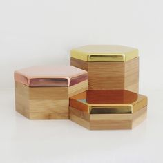 Image of Hex Boxes Mirror Gold Set: Gold, Rose Gold, Bronze